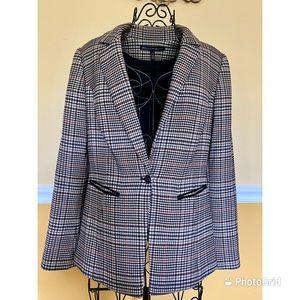 WHBM plaid classic leather trim blazer